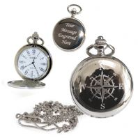 Compass Pocket Watch Roman Numerals Quartz